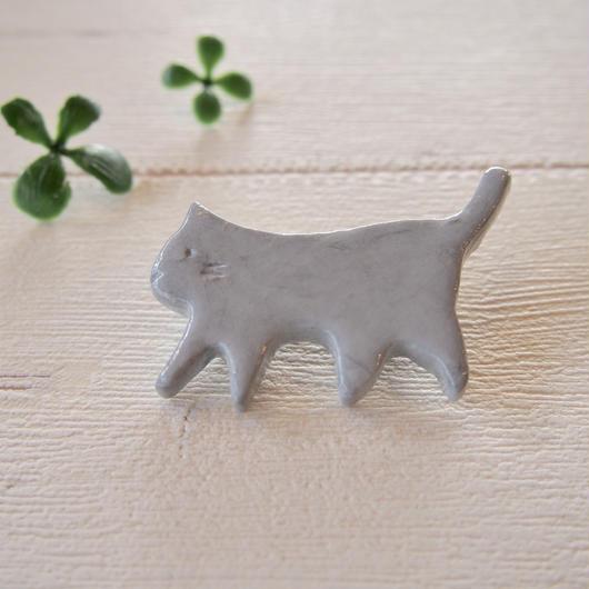 陶器風 ブローチ 【ネコ】