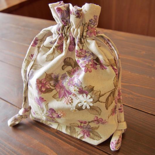 花柄 巾着袋