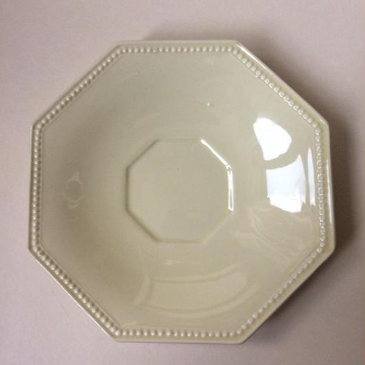 19世紀 モントロー クレイユ・エ・モントロー ソーサー 小皿 オクトゴナル パールリム クリーム色 1