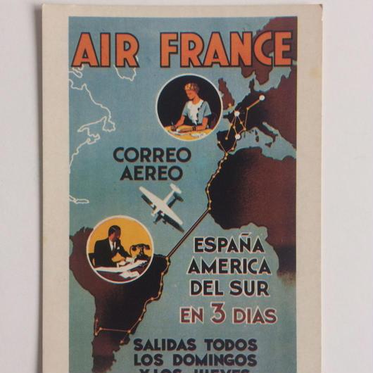 ビンテージ ポストカード エールフランス ポスター 1936年 スペインー南米