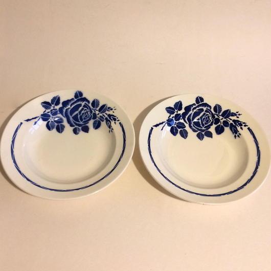 1900年代 バドンヴィレー ディナープレート スープ皿 ニコル 薔薇柄 ブルー 2枚セット 1