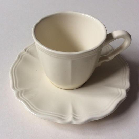 1970年代 サルグミンヌ カップ&ソーサー 花リム クリーム色 1