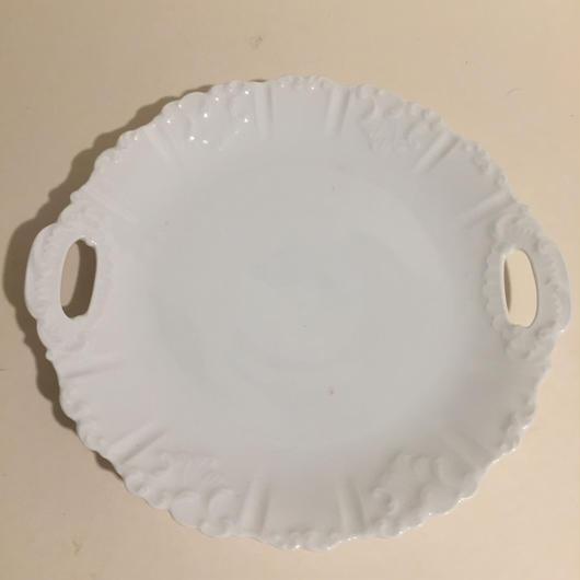 1900年 デザート・プレート 取っ手付き 磁器製 レリーフ  白