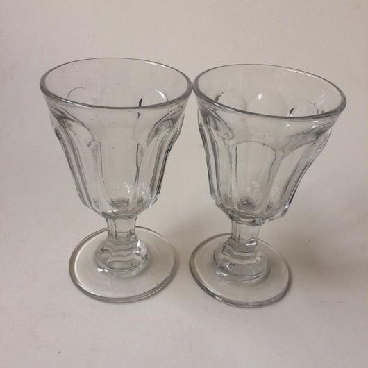 19世紀 ビストロ用 吹きガラス製 ワイングラス 2点セット