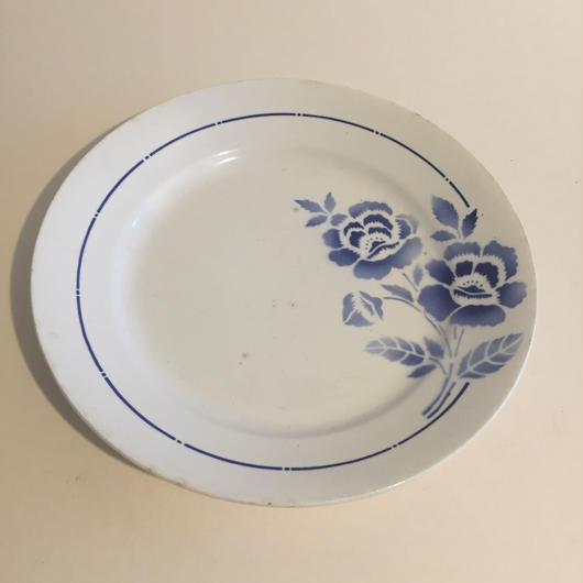 1930年代 サンタマン 大皿 薔薇柄 ブルー