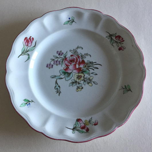 19世紀 リュネヴィル ディナー・プレート チャイナ 薔薇柄 2