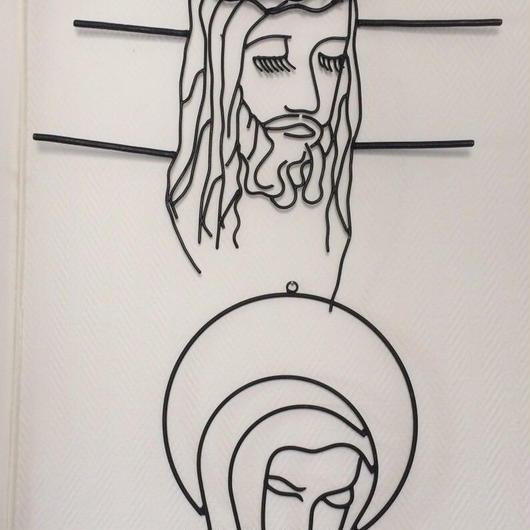 ヴィンテージ 1950年代 イエス・キリスト 聖母マリア 鉄製壁掛け