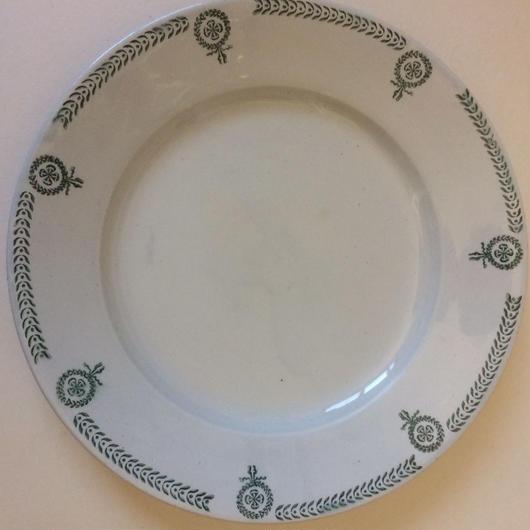 19世紀 カストル お皿 プレート ディッシュ メダル柄 グリーン 1