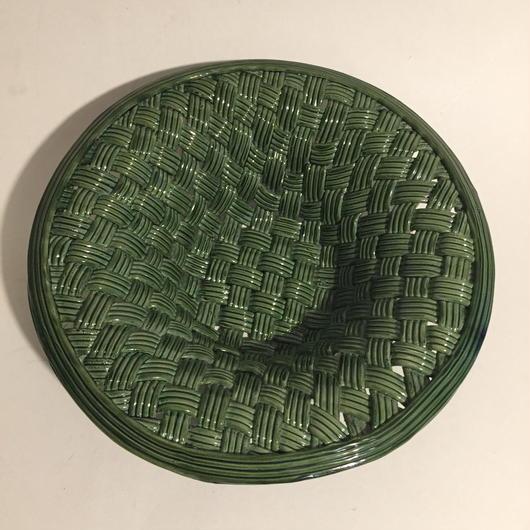 1940年代 ヴァロリス? コルベイユ 陶器かご グリーン