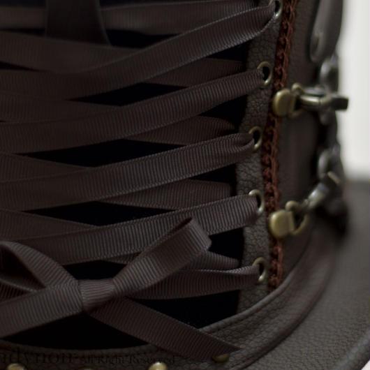 焦茶と黒のウサミミコルセットハット・ショート・フラット・ハトメレースアップ
