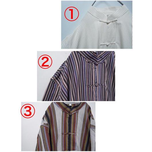 コットンストライプチャイナシャツ(半袖)