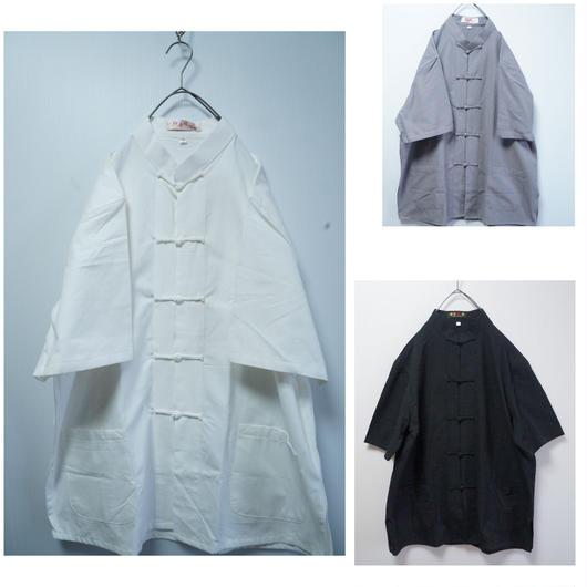 コットン無地チャイナシャツ(半袖)