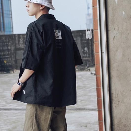 後背位(バック)プリントシャツ black