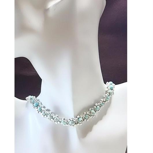 練りトルコ石 チョーカー ネックレス  (silver)