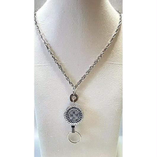 スワロフスキーデコ リール付ネックレス(ブルー&クリスタル)