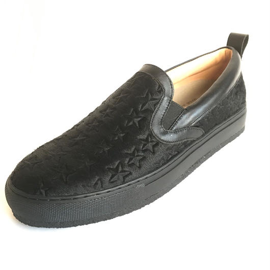 Star Embossed Pony Slip-On BLACK