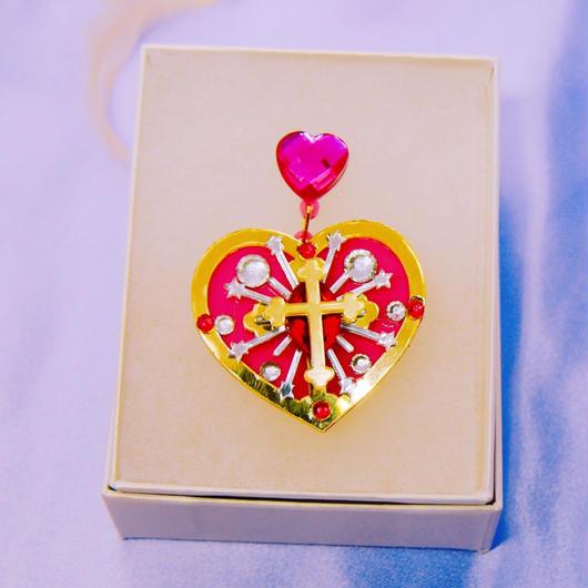 Cross heart piercing/earring for one ear