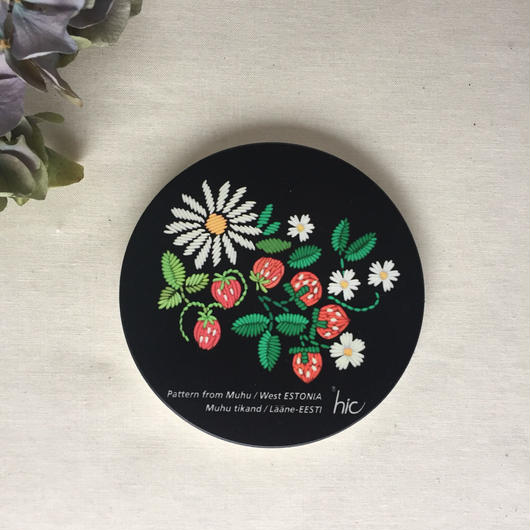 ムフ刺繍プリント陶製コースター*イチゴ