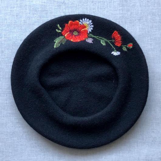 ムフ刺繍ベレー帽*ポピー&マーガレット Lサイズ
