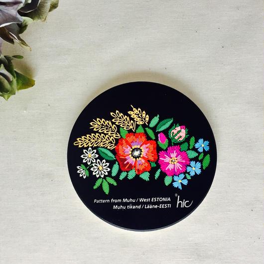 花柄ムフ刺繍プリント陶製コースター