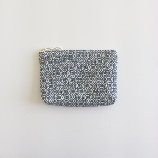 手織り布のメイクポーチ (  Grey flower)