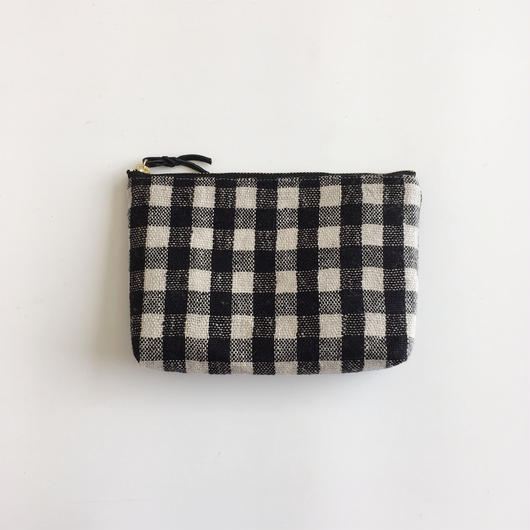 手織り布のメイクポーチ (Make up bag  Black Gingham check )