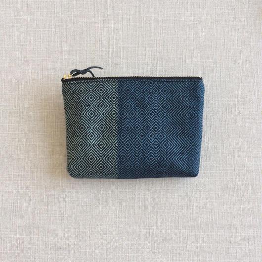 【ラスト1】手織り布のポーチ16cm No.2 ( Make up bag  Sazanami)