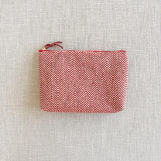 手織り布メイクポーチ ( Red herringbone)
