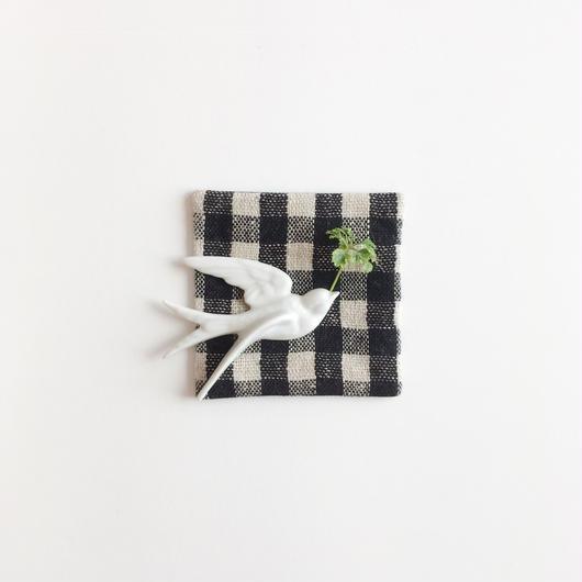 手織りコースター ( Coaster  Black Gingham check )