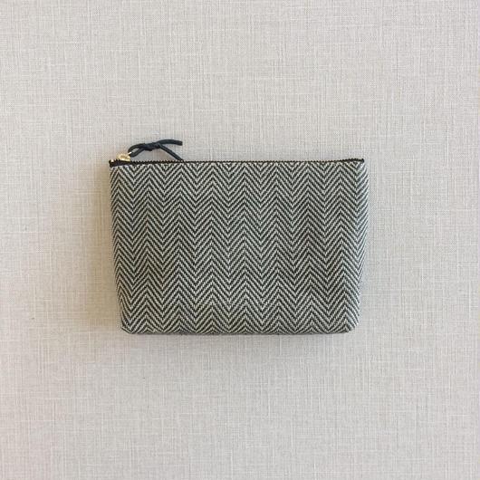 手織り布メイクポーチ ( Make up bag Black herringbone)