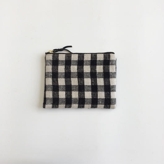 手織り布ミニポーチ (Accessory case  Black Gingham check )