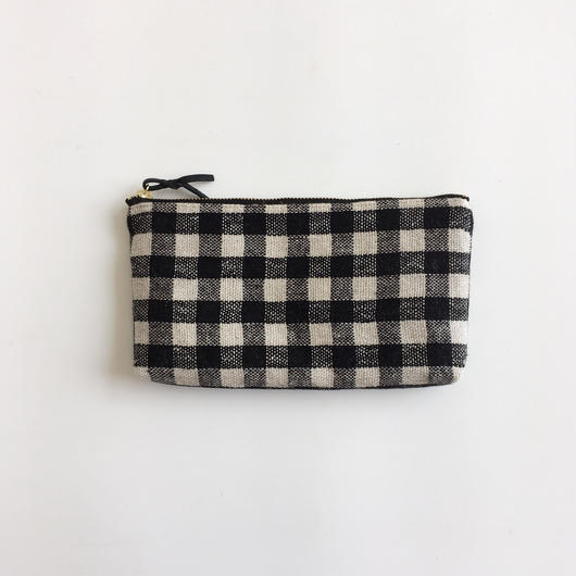 手織り布の横長ポーチ ( Long case  Black Gingham check )