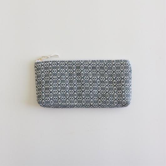 手織り布の横長ポーチ (  Grey flower)