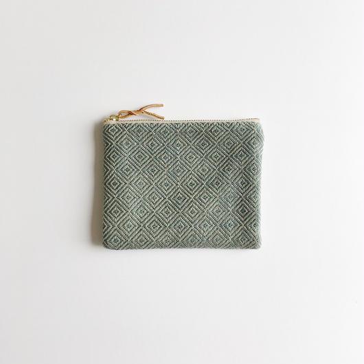 【限定製作1のみ】手織り布のミニポーチ (Accessory case Green bird's-eye)