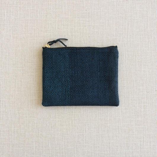 手織り布のミニポーチ14cm No.2 ( Accessory case  Sazanami)