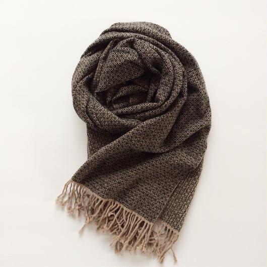手織りのカシミヤショール(ブラックフラワー Black flower)