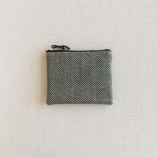 手織り布ミニポーチ ( Accessory case Black herringbone)