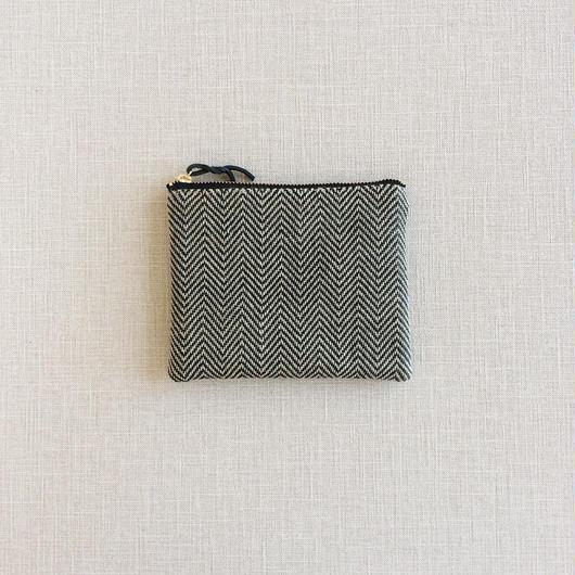 手織り布ミニポーチ ( Accessory case Black herringbone)