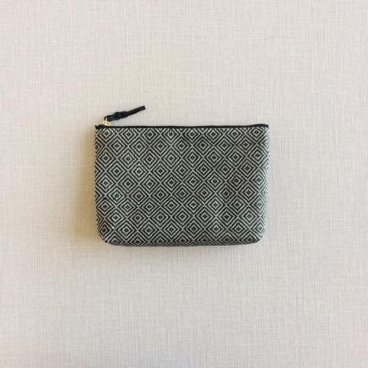 手織り布のメイクポーチ (Make up bag  Black bird's-eye )