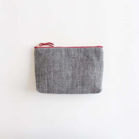 手織り布メイクポーチ (レッド ピンストライプ)