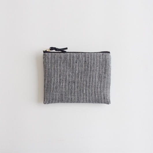手織り布ミニポーチ (ブラック ピンストライプ)