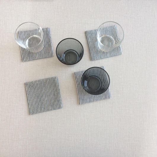 手織りコースター (ピンストライプ_ブルー)