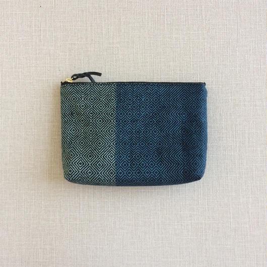 手織り布のメイクポーチ18cm No.1 ( Make up bag  Sazanami)