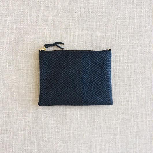 手織り布のミニポーチ14cm No.3 ( Accessory case  Sazanami)