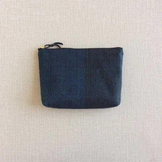 手織り布のメイクポーチ18cm No.2( Make up bag  Sazanami)