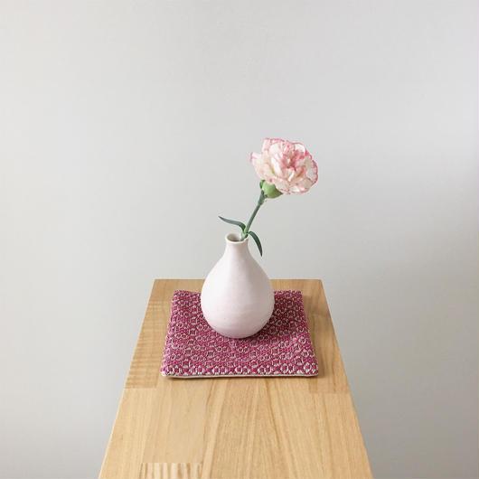 手織りコースター ( Coaster Flower Linen Bordeaux)