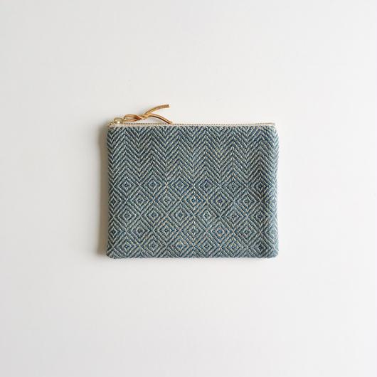 【限定製作1のみ】手織り布のミニポーチ (Accessory case  Indigo bird's-eye&herringbone)