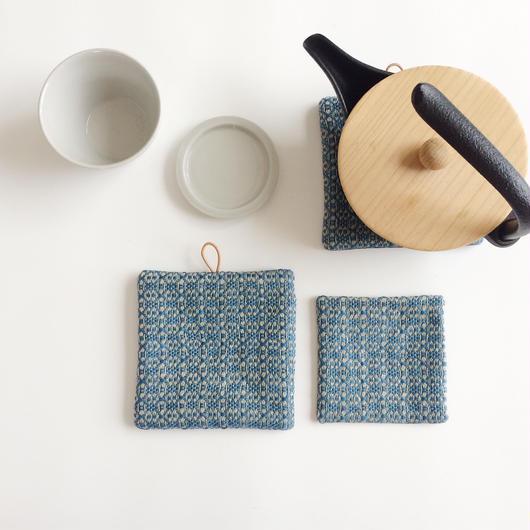 【限定特別セット】手織りポットマットとコースター ( Coaster&Potmat  Flower Linen Indigo blue)
