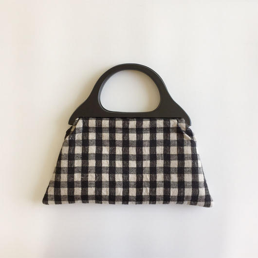 手織りウッドハンドルバッグ ( ブラックギンガムチェック)