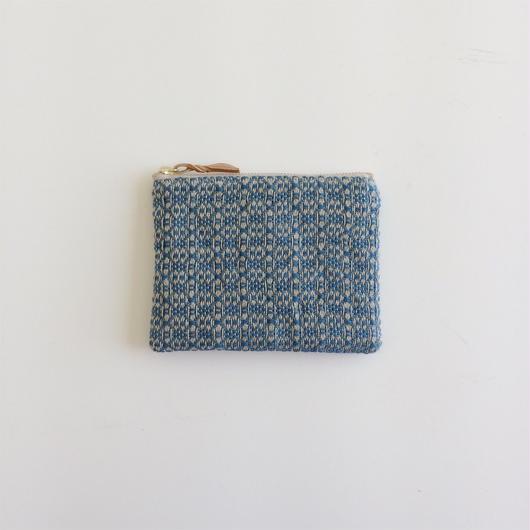 手織り布のミニポーチ (Indigo flower)